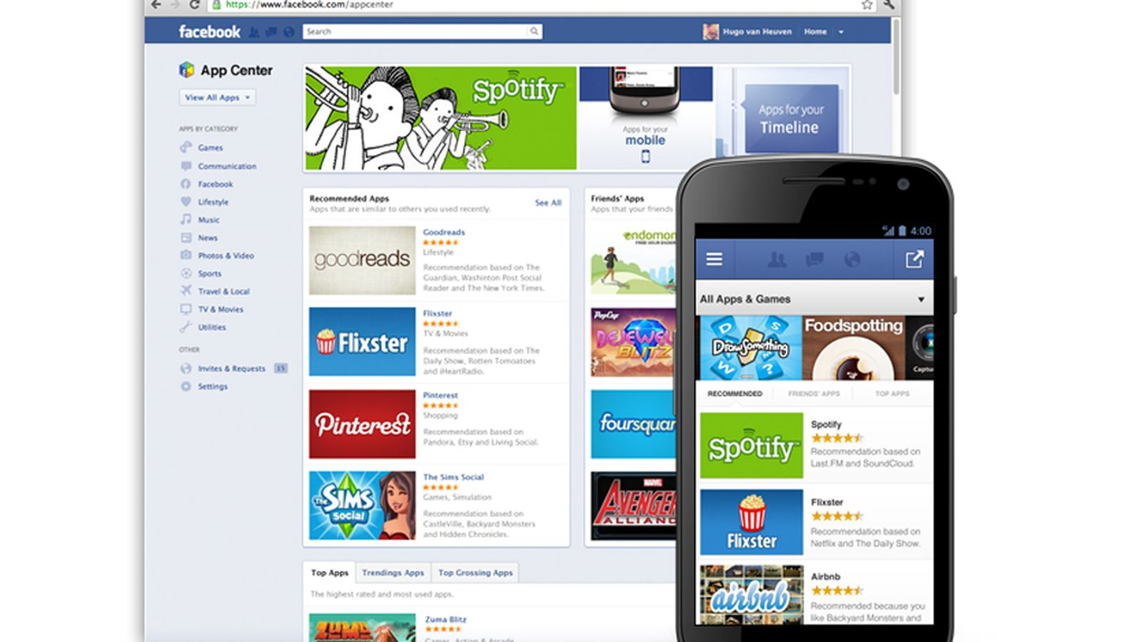 app center facebook