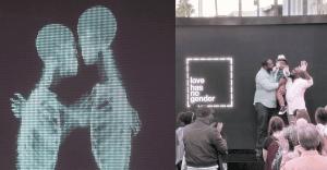 """Una inmensa pantalla estilo """"rayos X"""" nos muestra que para el amor todos somos iguales"""