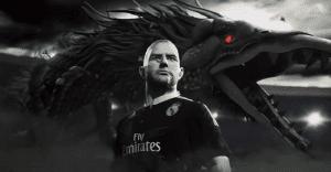 Un dragón presenta la nueva camiseta de Real Madrid