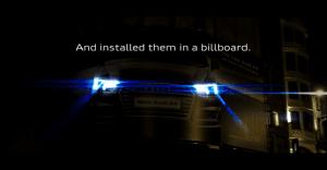 Un panel de Audi que ilumina el camino del público