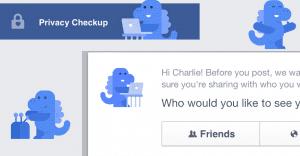Atento al dinosaurio azul que nos ayudará a configurar nuestra privacidad en Facebook