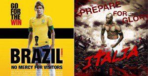 Originales piezas muestran a renombrados futbolistas caracterizados en conocidas películas