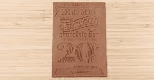 Un flyer de chocolate para bajar de peso