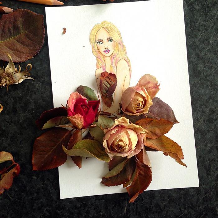 artista-lleva-diseño-de-modas-a-otro-nivel-el-resultado-es-impresionante-flores secas