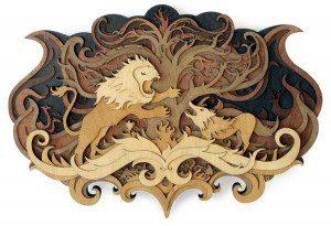 Criaturas míticas creadas con madera
