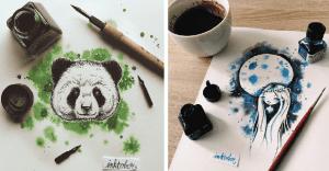 Encantadoras ilustraciones hechas con tinta y acuarela