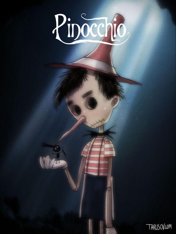 personajes de Disney creados por Tim Burton pinocho