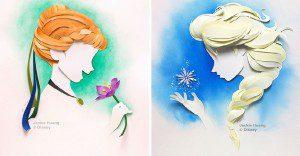 Los personajes de Disney creados con capas de papel