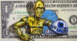 Billetes de un dólar son usados como lienzo para dibujos de conocidos personajes