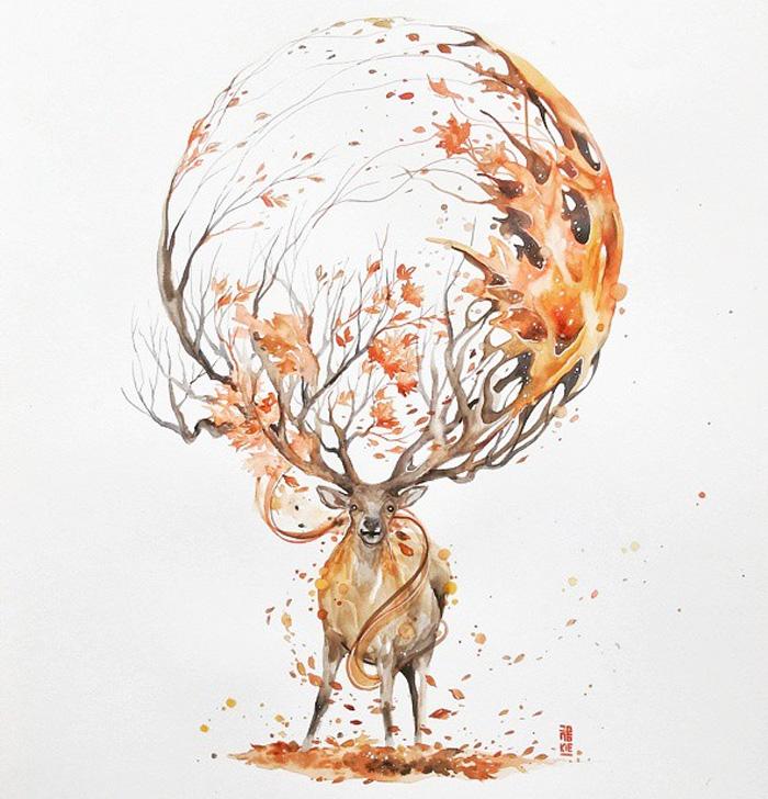 pinturas-acuarela-dan-vida-hermosos-animales-16