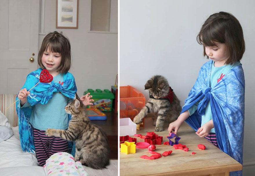 Conoce el arte de esta niña autista y su singular ayudante con gato