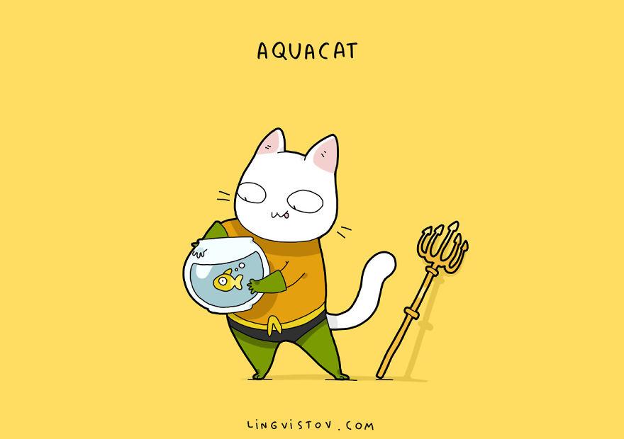 Si los gatos fueran superhéroes aquacat