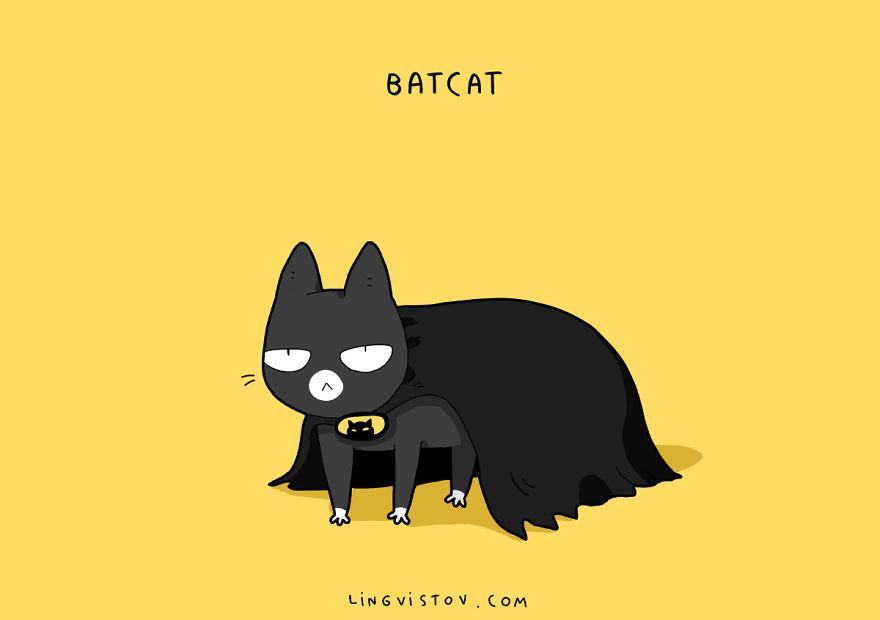 Si los gatos fueran superhéroes batcat