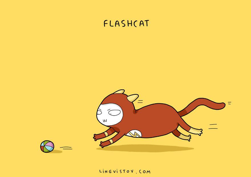 Si los gatos fueran superhéroes flashcat
