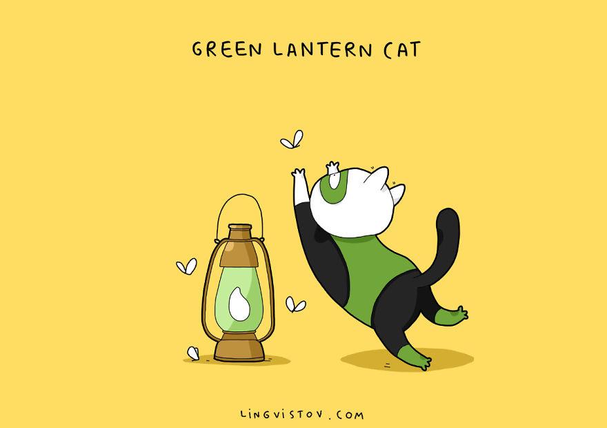 Si los gatos fueran superhéroes green lantern cat