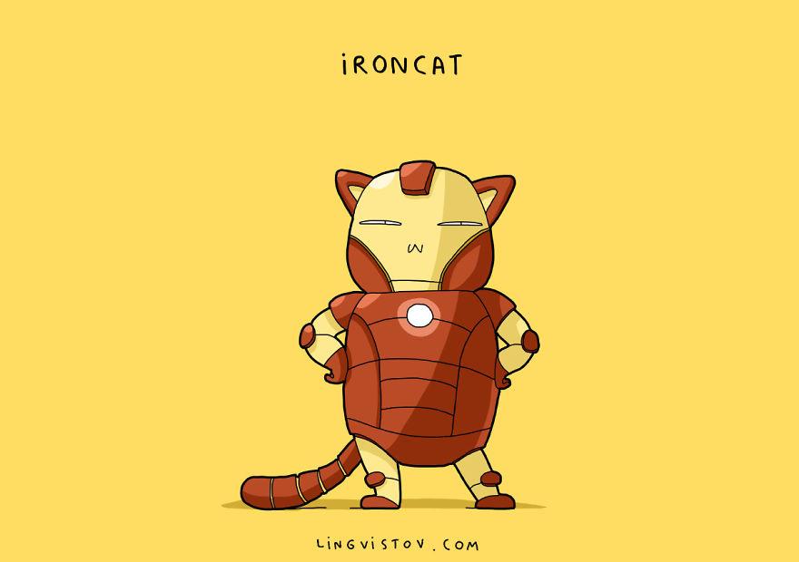 Si los gatos fueran superhéroes ironcat