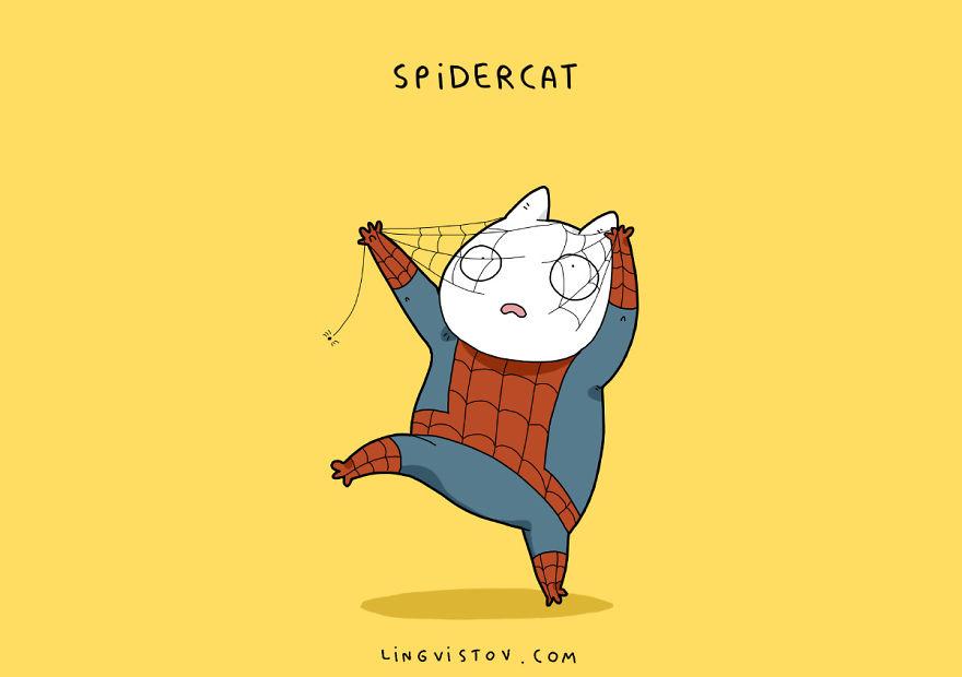 Si los gatos fueran superhéroes spidercat