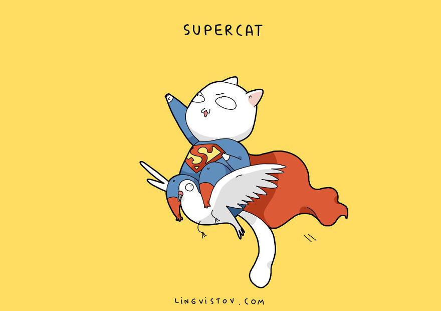 Si los gatos fueran superhéroes supercat
