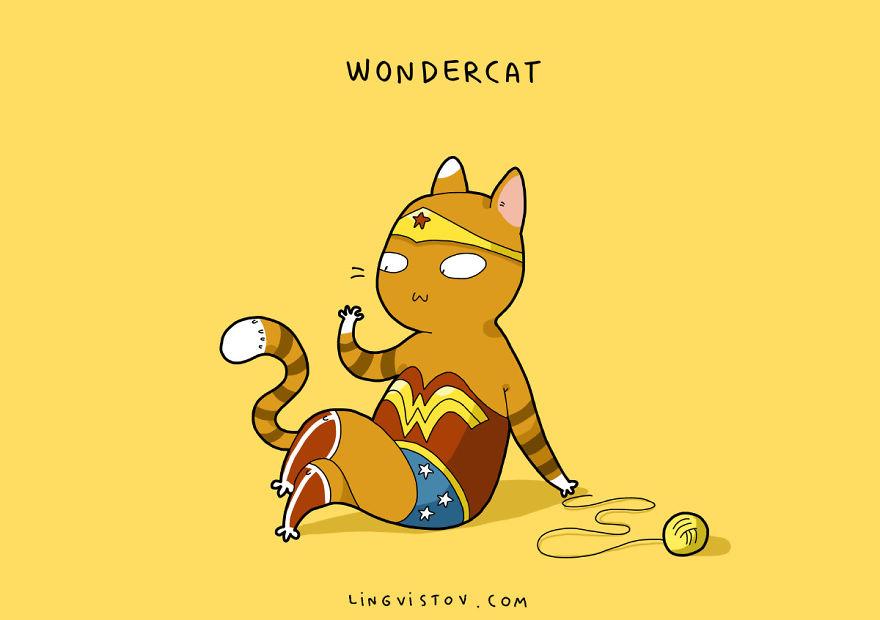Si los gatos fueran superhéroes wondercat