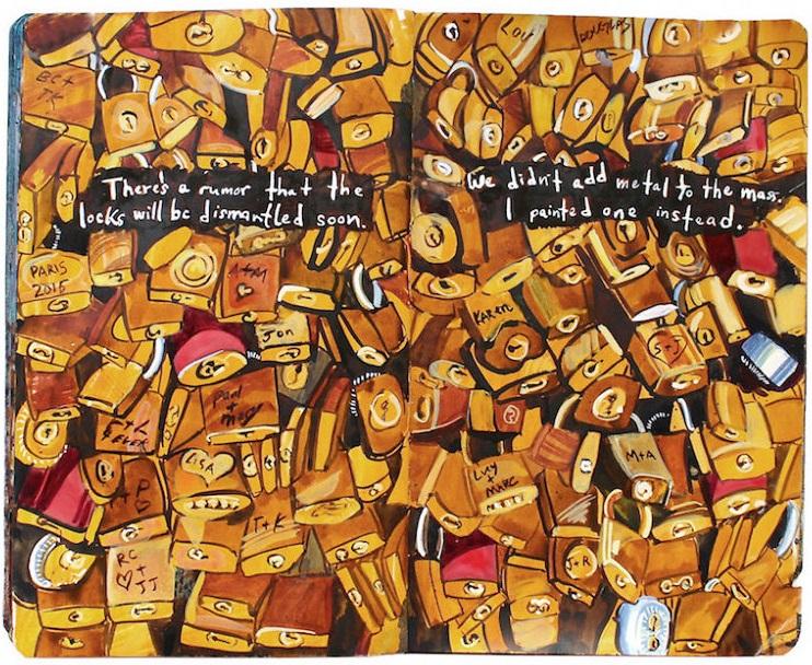 Un diario lleno de memorias pintadas a mano 005