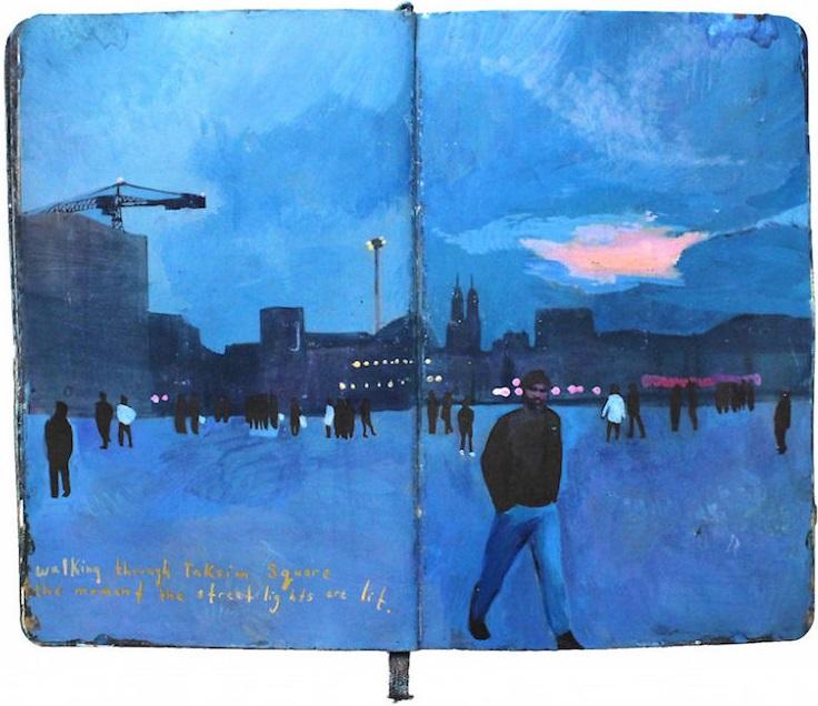 Un diario lleno de memorias pintadas a mano 008