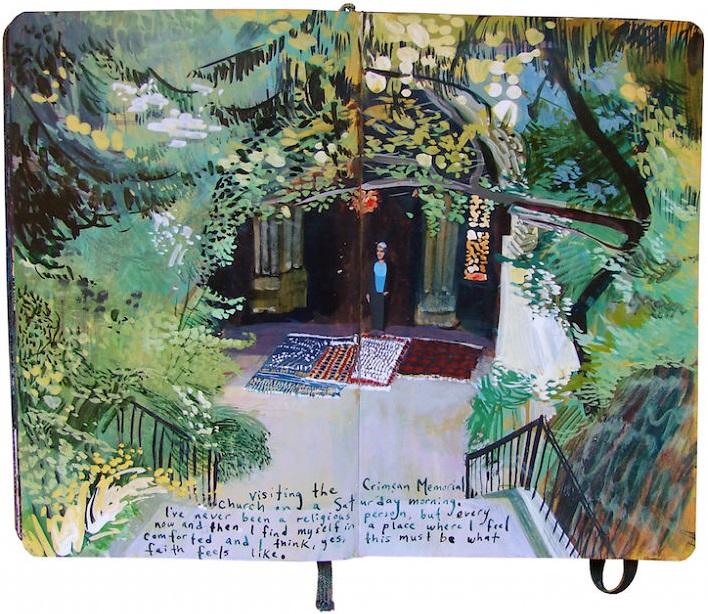 Un diario lleno de memorias pintadas a mano 009