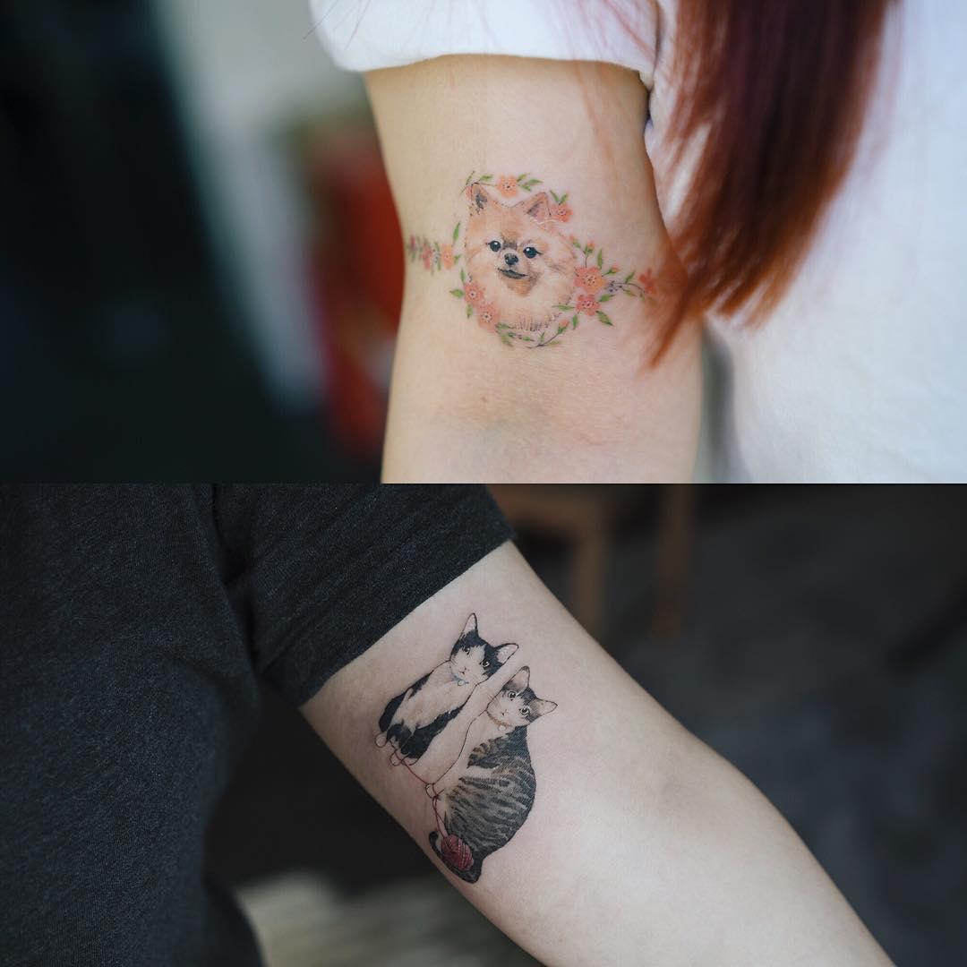 dog_cats_by_sol_tattoo_mott