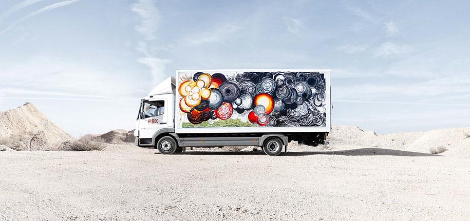 arte callejero plasmado en camiones 6