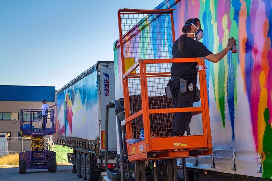 arte callejero plasmado en camiones 12