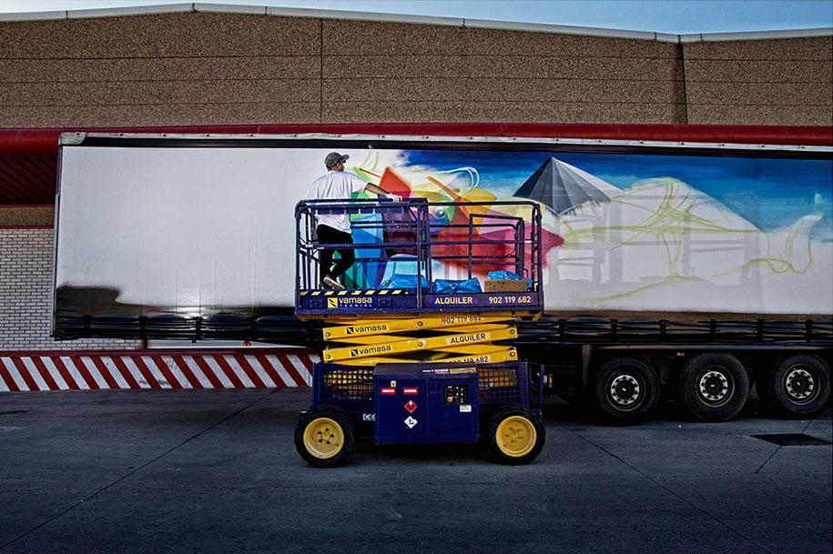 arte callejero plasmado en camiones 1