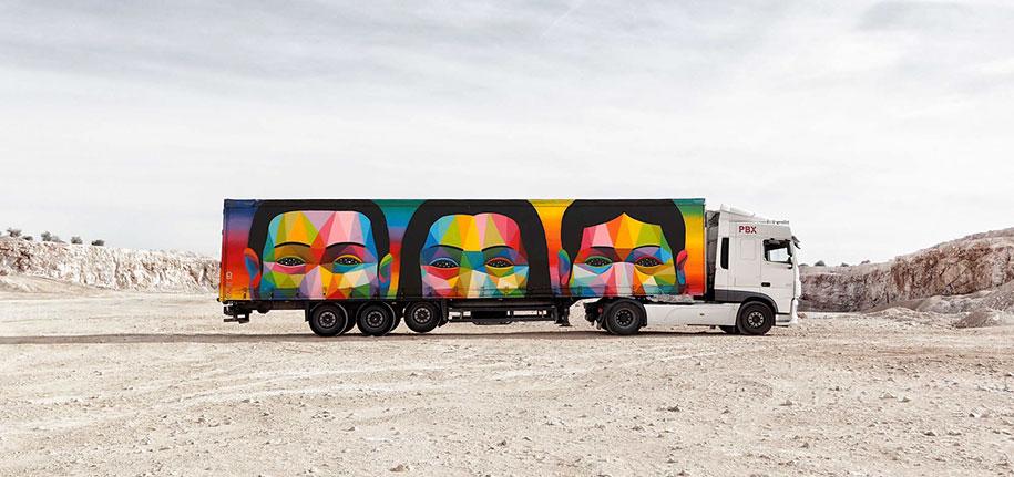 arte callejero plasmado en camiones 3