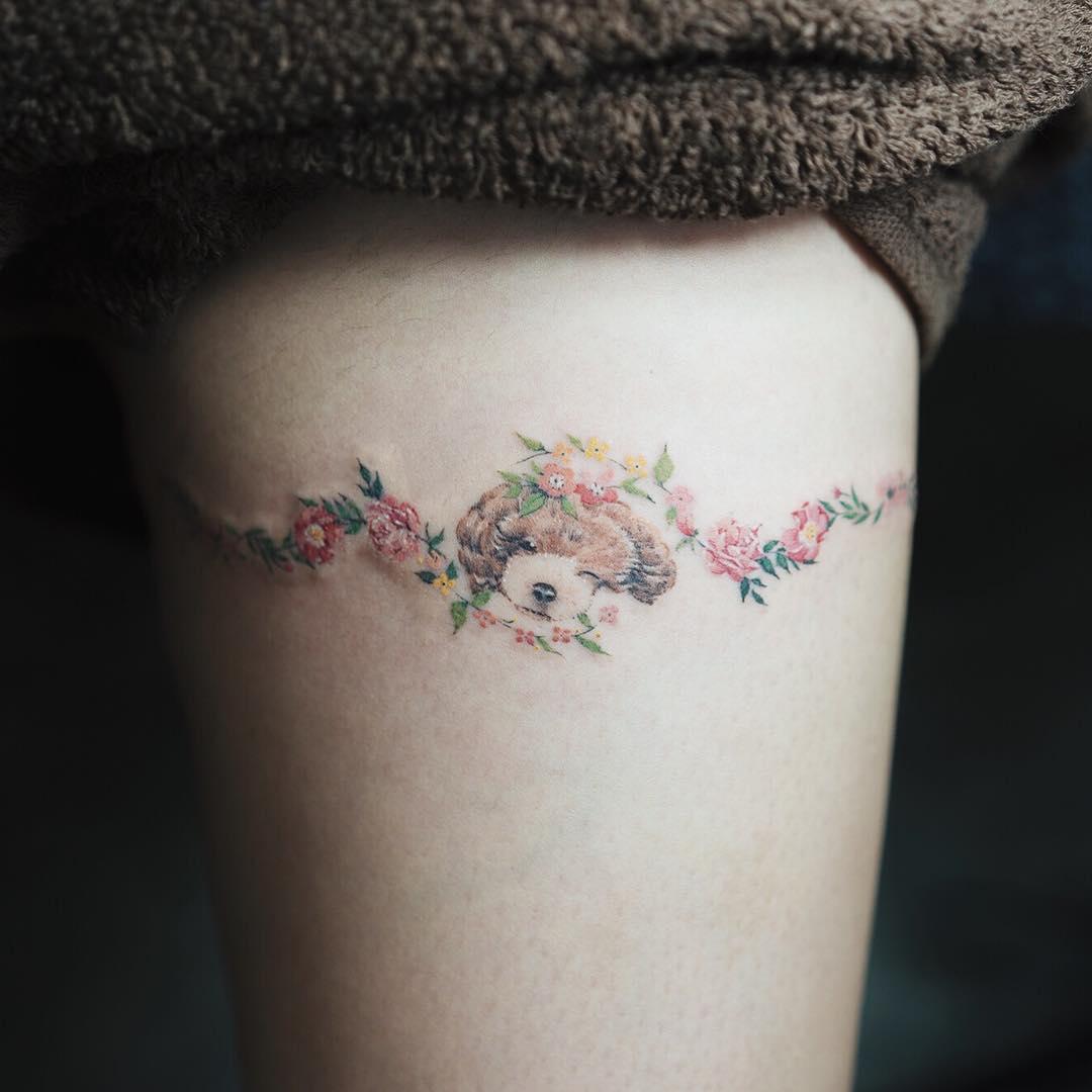 puppy_flowers_by_sol_tattoo_mott