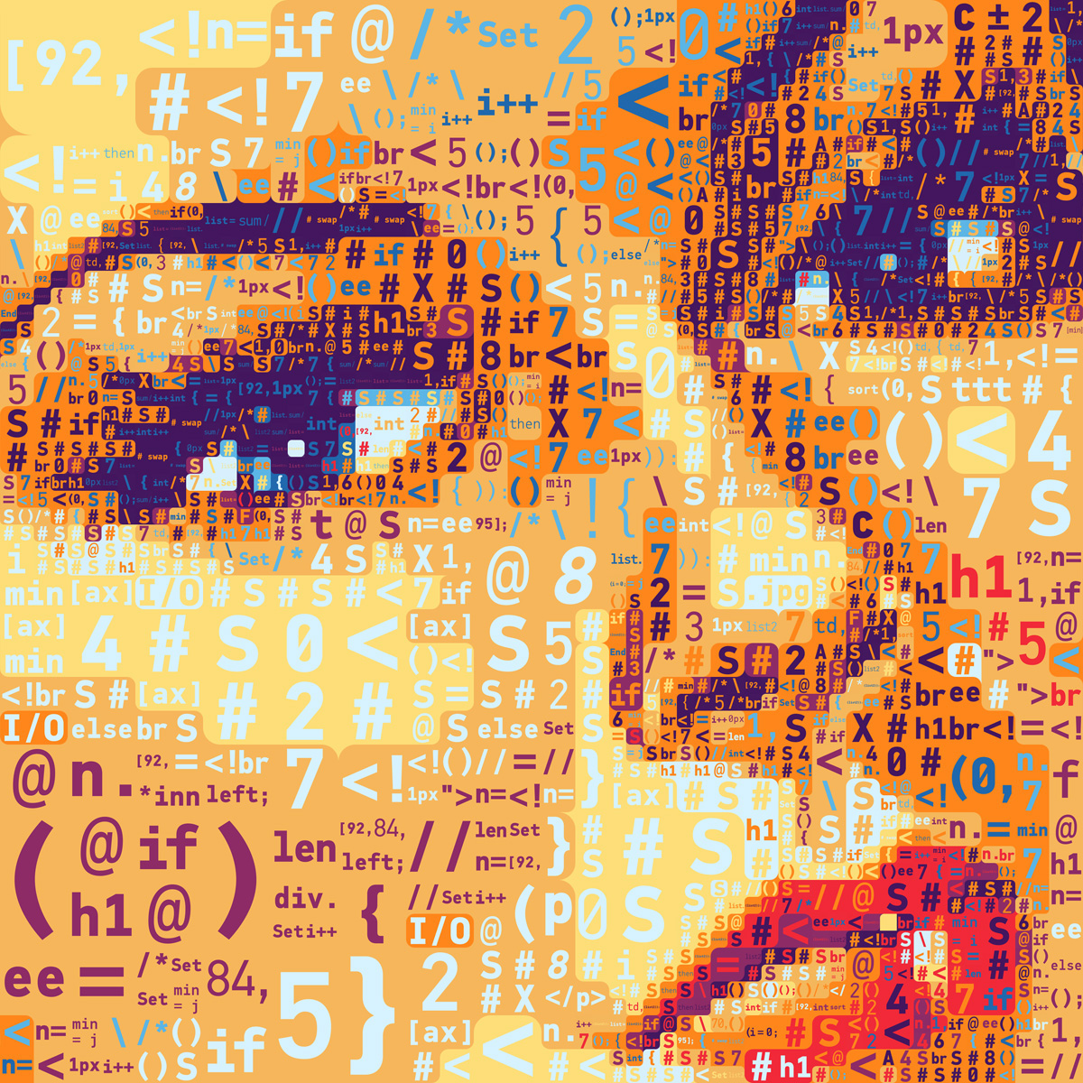 A mosaic portrait of Rosie the Riveter made out of code. Created by Charis Tsevis for an article on Mother Jones magazine.