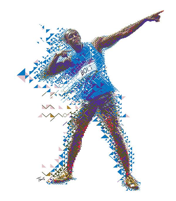 Usein Bolt fractal mosaic for GATORADE EVOLUCIONA campaign in Latin America.