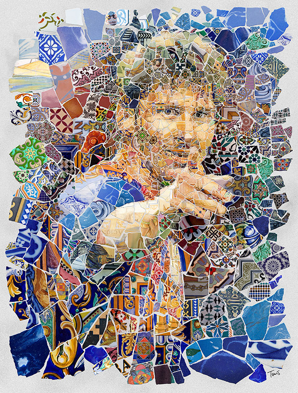 A portrait of Lionel Messi created using the Trencadís technique. Trencadis is type of mosaic used in Catalan modernism, created from broken tile shards. It is the most characteristic art form forever combined with the city of Barcelona. So it came naturally to me to use the digital version of Trencadís to create this series of tributes to Lio Messi.