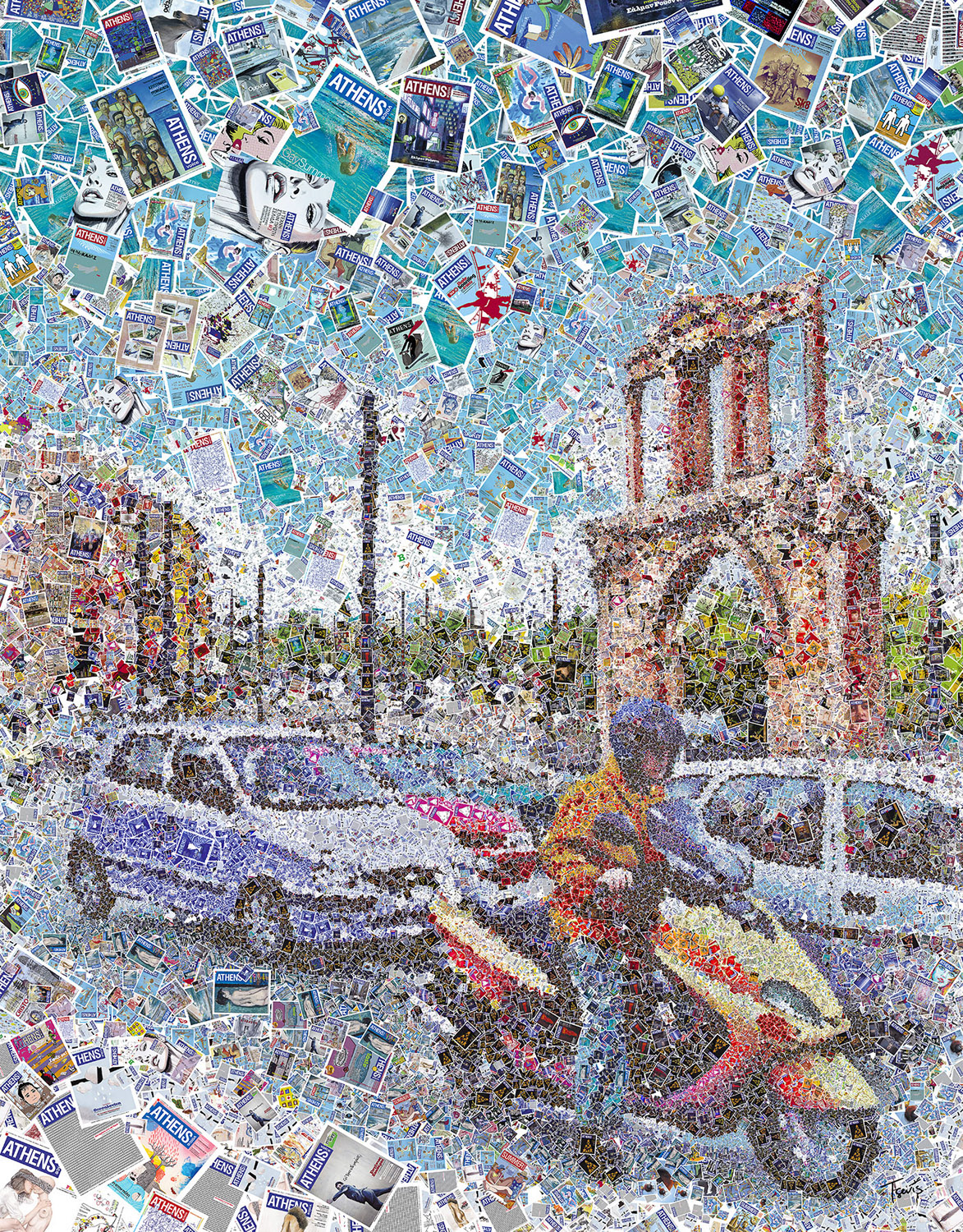 A mosaic illustration of a typical traffic moment in one of the main streets of downtown Athens, featuring the Hadrian's Gate. Created for the cover of Athens Voice, the most popular free press newspaper of the Greek capital.