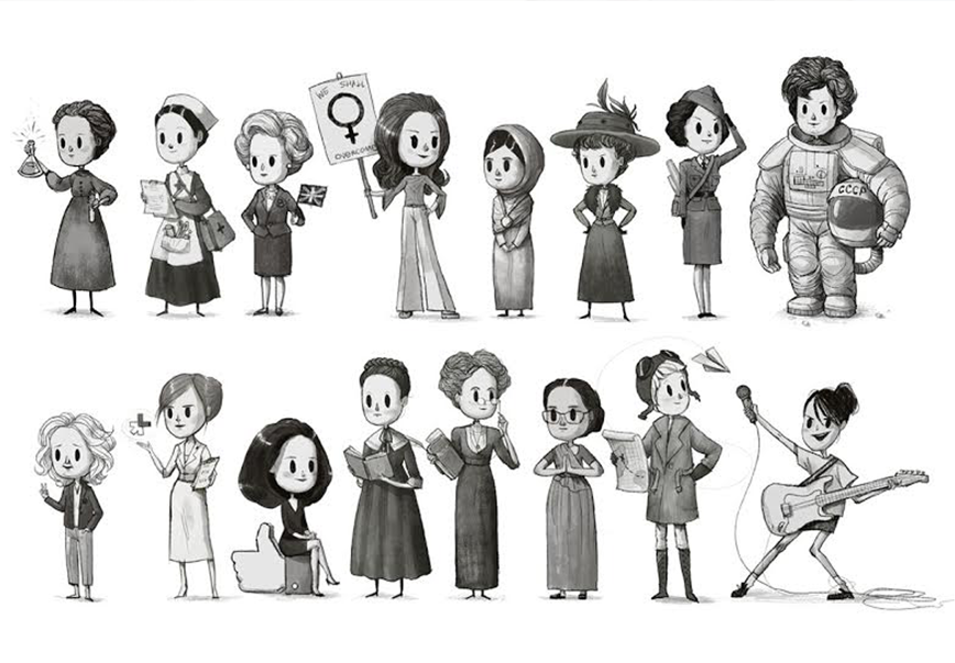 Las mujeres más reconocidas del mundo hechas ilustraciones todas