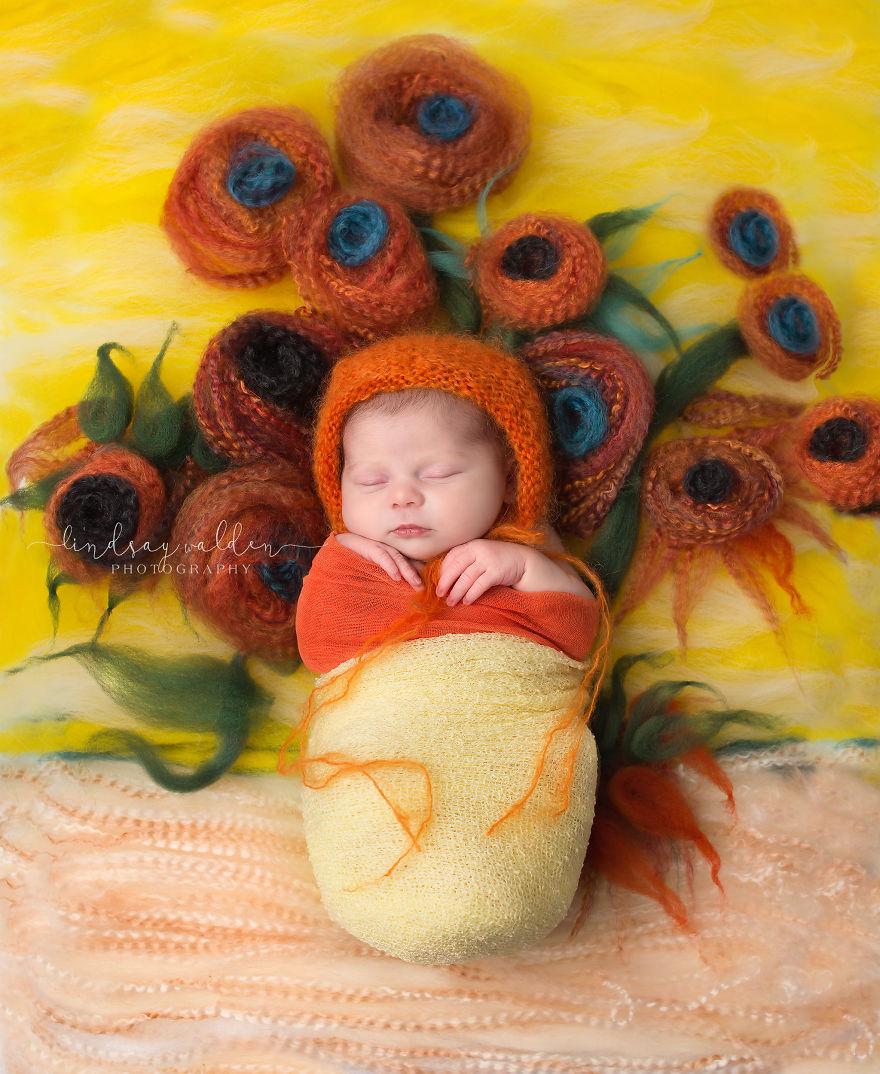 Esta fotógrafa recrea conocidas obras de arte utilizando tiernos bebés como modelos van gogh 2