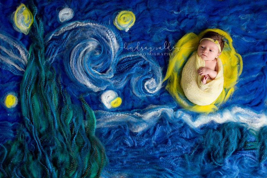 Esta fotógrafa recrea conocidas obras de arte utilizando tiernos bebés como modelos van gogh