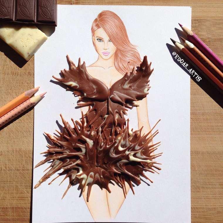 Este ilustrador junta moda con comida de una gran manera chocolate