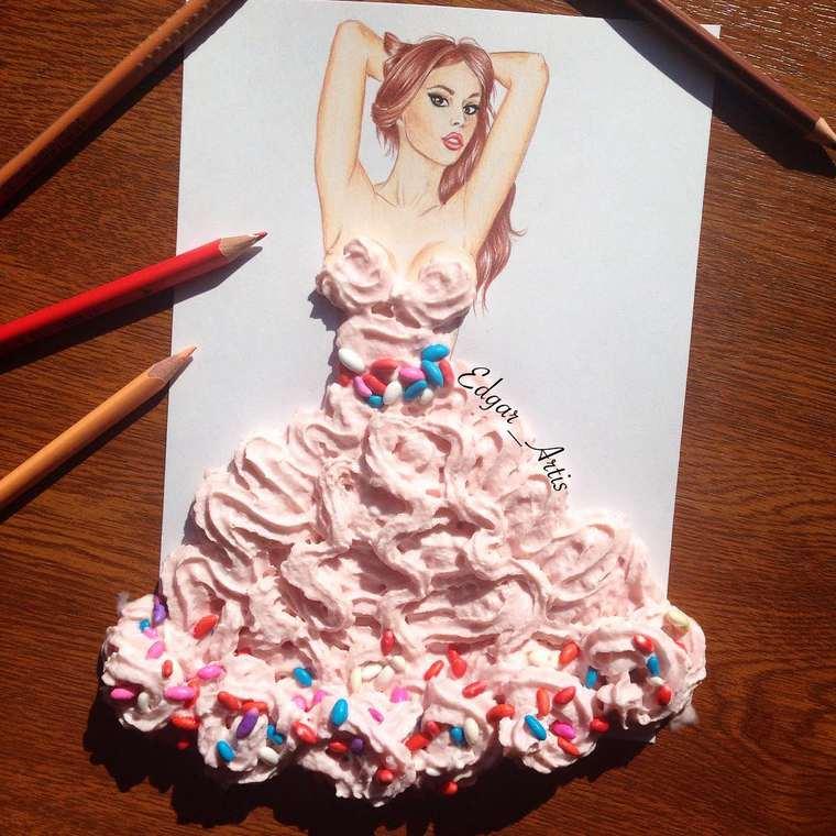 Este ilustrador junta moda con comida de una gran manera crema