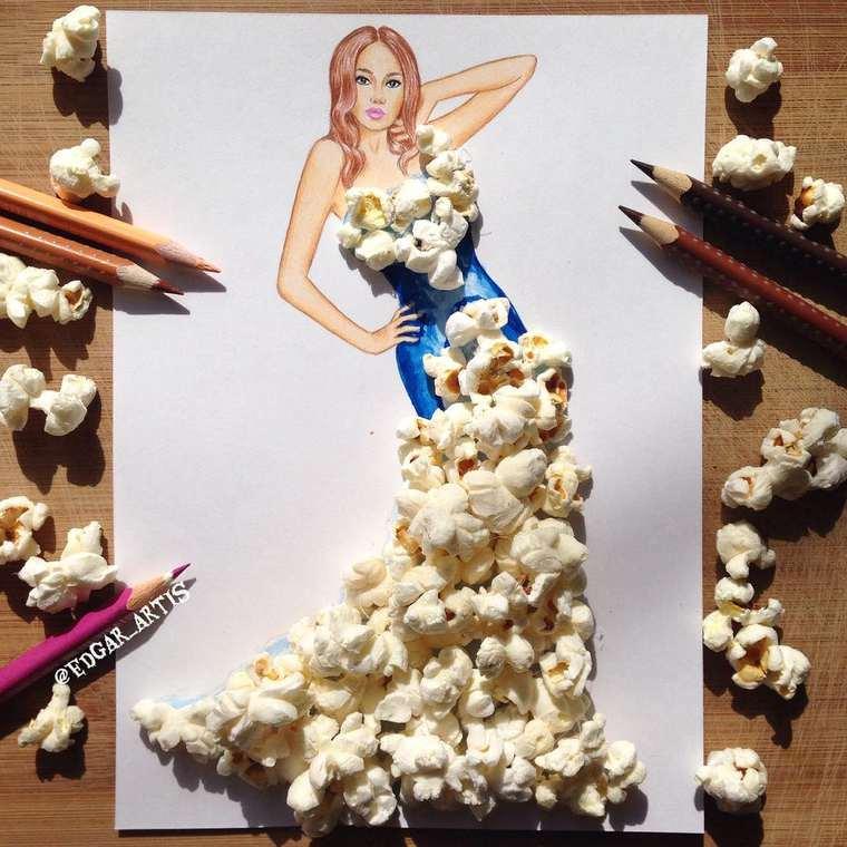 Este ilustrador junta moda con comida de una gran manera palomitas