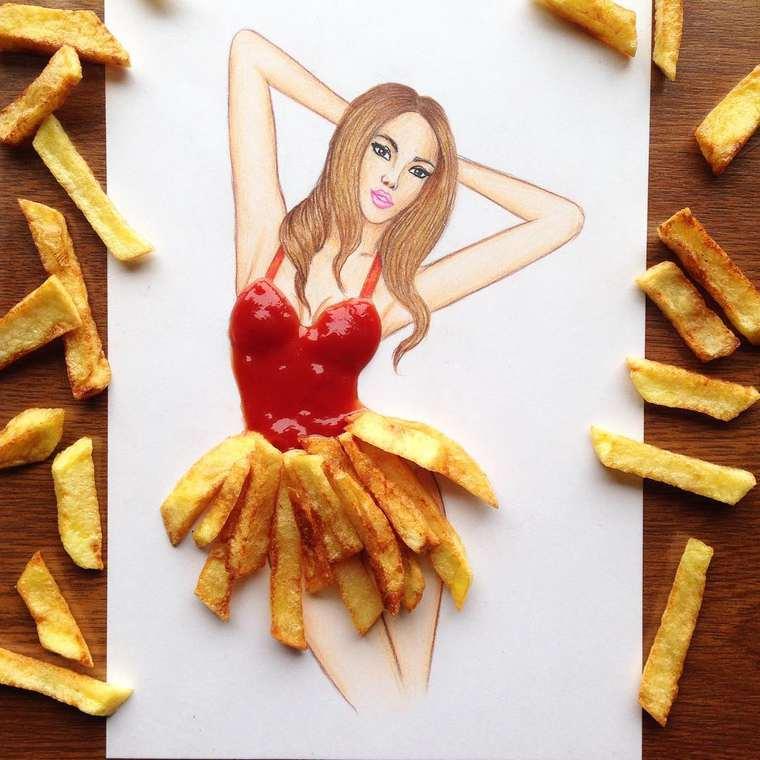 Este ilustrador junta moda con comida de una gran manera papas fritas