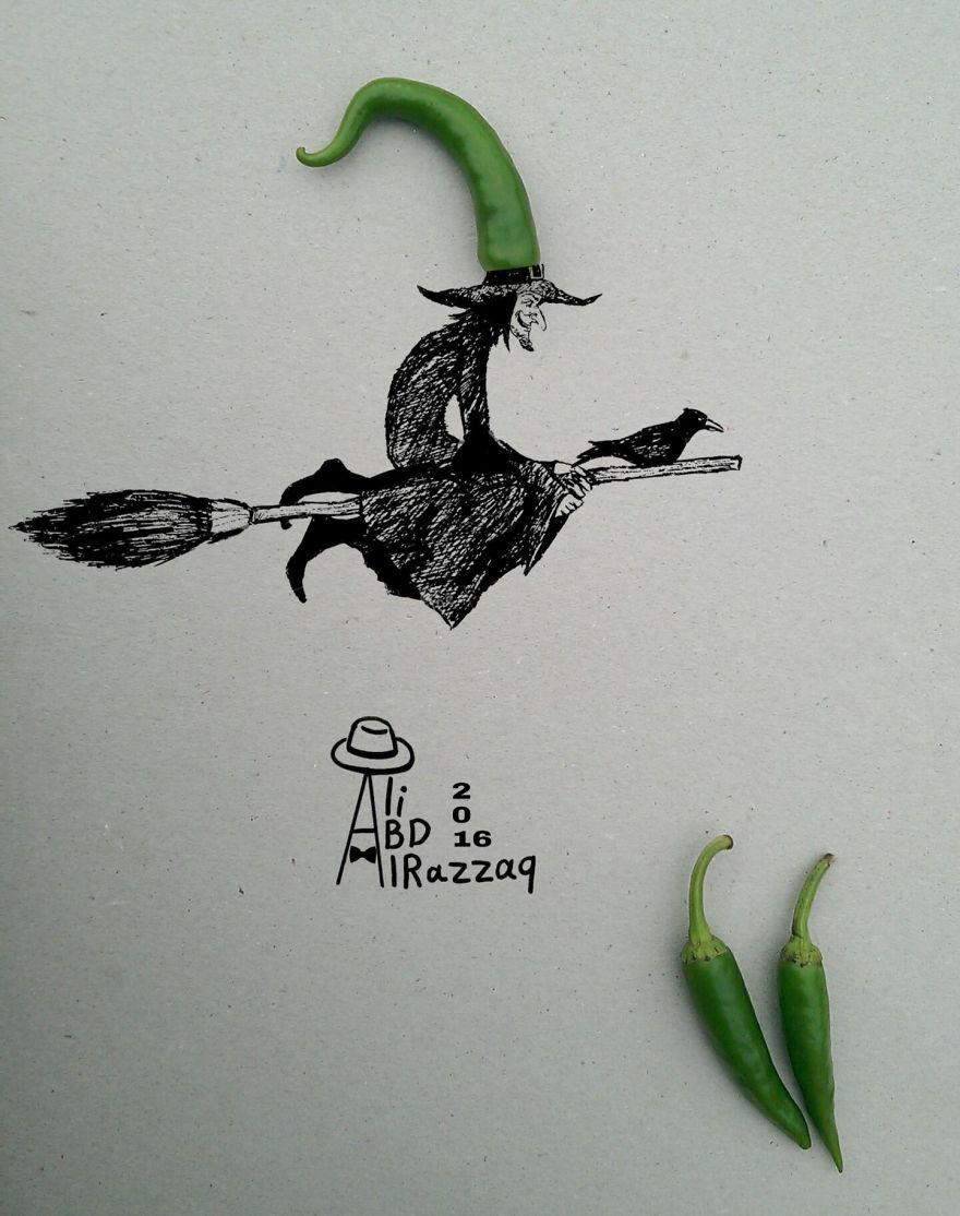 Este sujeto crea divertidas ilustraciones con objetos del día a día bruja