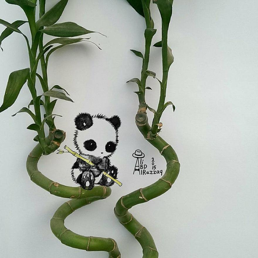 Este sujeto crea divertidas ilustraciones con objetos del día a día panda