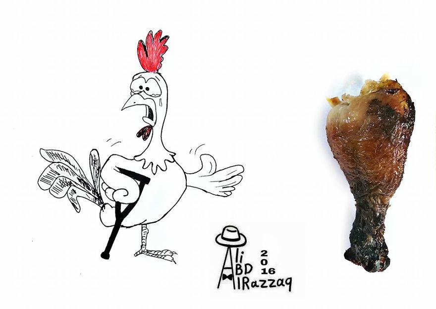 Este sujeto crea divertidas ilustraciones con objetos del día a día pollo