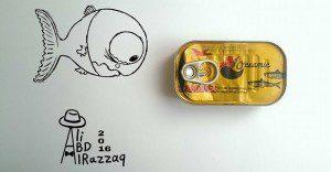 Este sujeto crea divertidas ilustraciones con objetos del día a día