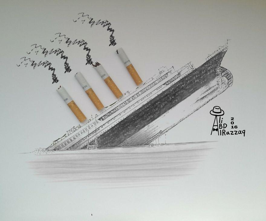 Este sujeto crea divertidas ilustraciones con objetos del día a día titanic