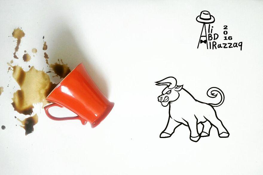 Este sujeto crea divertidas ilustraciones con objetos del día a día toro