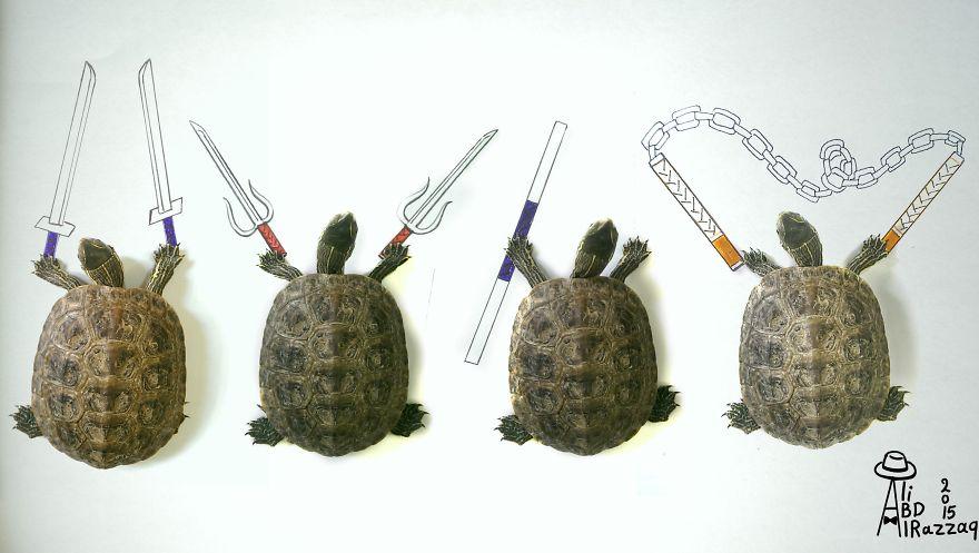 Este sujeto crea divertidas ilustraciones con objetos del día a día tortugas ninja